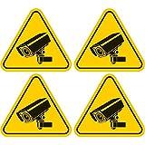 4 Stück Aufkleber 'Achtung Videoüberwacht - Kamera' 70x60 mm,gelb, selbstklebend, kratz und Wetterfest