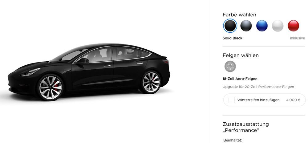 Tesla Model 3 Performance in schwarz