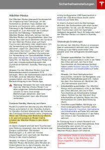 Wächter-Modus: Fehler in der Model 3 Bedienungsanleitung
