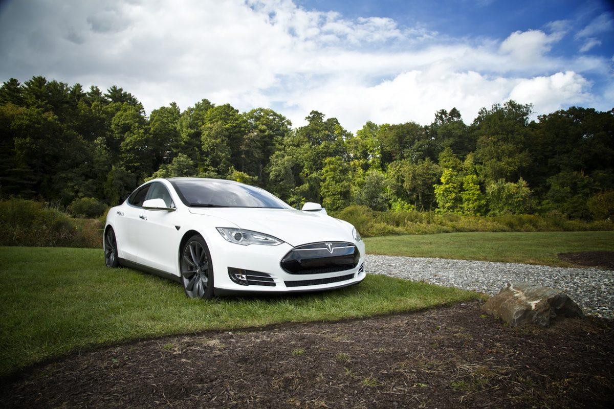 Ein Tesla auf einem Rasen