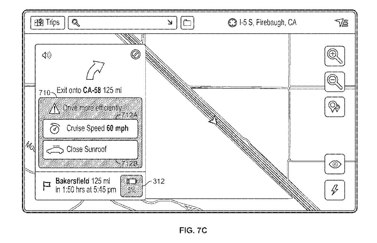 Wireframe aus dem Patent von Tesla: Empfehlungen für reduzierten Verbrauch.