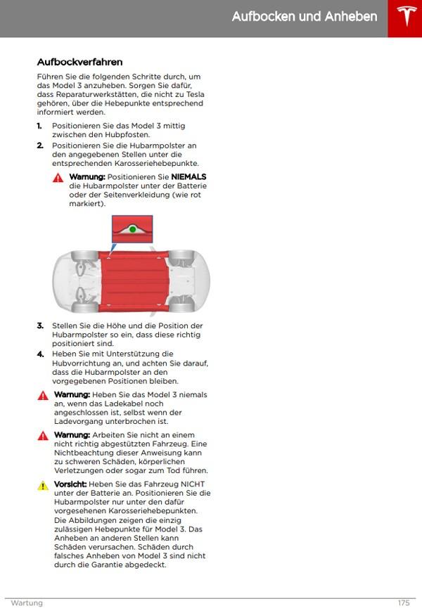 Tesla Model 3 Benutzerhandbuch Seite 175 - Aufbocken und Anheben